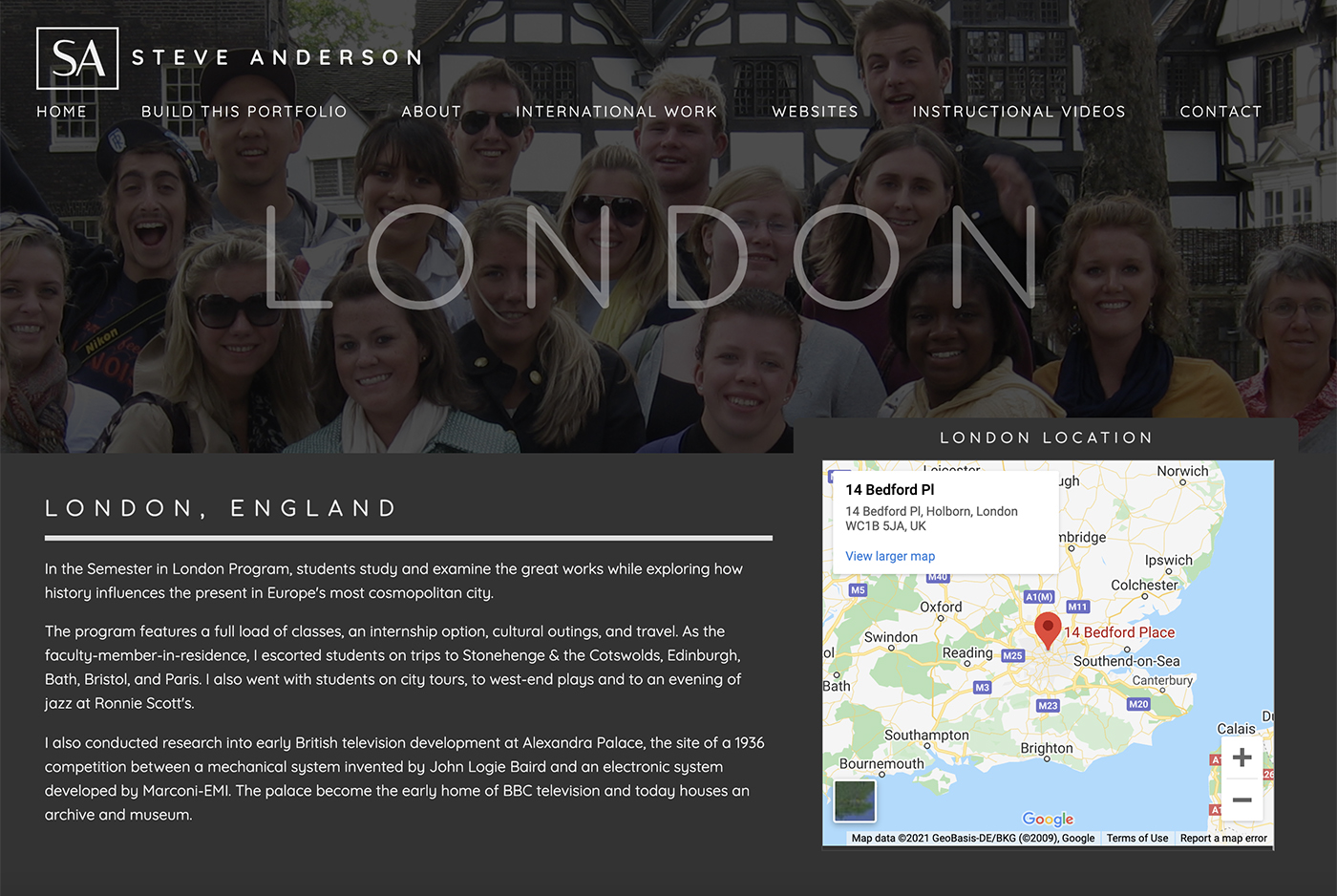 London page in dark mode